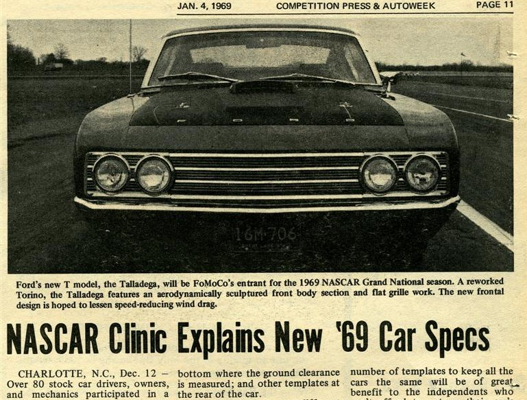 Photo of January 4, 1969 Autoweeks tells all on the New Talladega