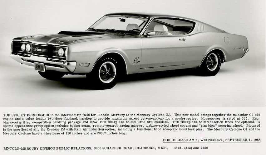 Photo of New 1969 Mercury News Release